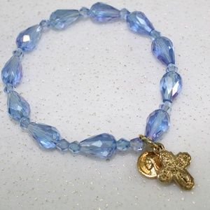 Jewelry - Blue Beaded Bracelet with Gold Religious Charms